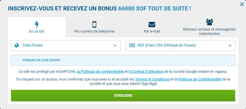 L'inscription sur 1xbet en un clic